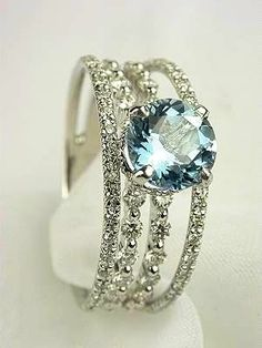 Love the mixture. (I like this better than most blue diamonds thus far) Aquamarine & Diamond Ring