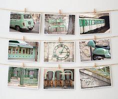BOGO, Paris Postcard Collection, Green - Paris Photo - French Fine Art Photography -- Paris Decor - Green Photograph