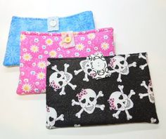 """Handmade Protective Small Case or Device Sleeve, Quilted Cotton Fabric Clutch, Velcro or Button Closure, 5"""" by 8"""""""
