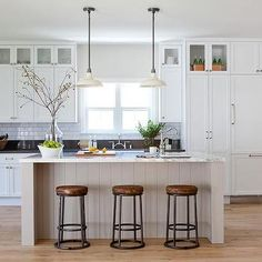 Light Gray Shiplap Kitchen Island with White Vintage Barn Pendants