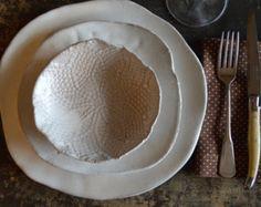 Ceramic dinner plates - White dinnerware plates ceramic bowl handmade tableware stoneware dishes dinnerware by Christiane Barbato
