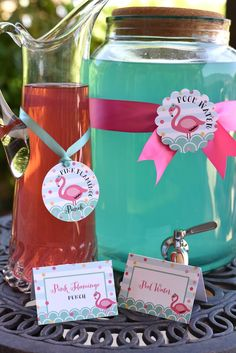 Drinks from Pink Flamingo  Pool Party at Kara's Party Ideas. See more at karaspartyideas.com!