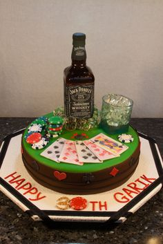 Jack Daniels Bottle This is a carved chocolate cake covered in