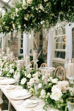 Lovely all-white and greenery reception space Garden Party Decorations, Garden Parties, Wedding Reception Decorations, Decor Wedding, Wedding Ideas, Wedding Destination, Our Wedding, Floral Wedding, Wedding Flowers