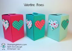 Stampin' Up! Valentine boxes made with gift box punch board designed by demo Beth McCullough.  See more card and gift ideas at  www.StampingMom.com #StampingMom