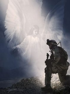 Praying soldier and guardian angel art print. Angels Among Us, Real Angels, Calming Images, My Champion, I Believe In Angels, Angel Pictures, Angel Images, Angels In Heaven, Heavenly Angels