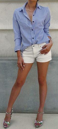 $26.99 Chicnico Simple Navy Long Sleeve Striped Shirt