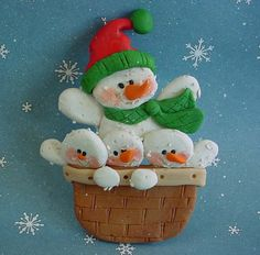Polymer Clay Christmas Ornament  Snowman w Basket full of little Snow People