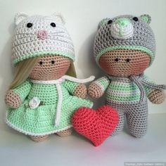 Вязаные куклы / Вязанные куклы крючком и на спицах своими руками / Бэйбики. Куклы фото. Одежда для кукол