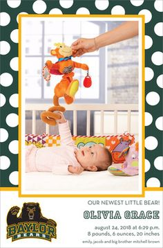 #Baylor University Dotted Border Photo Baby Announcements