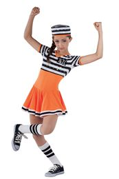 Style# 17445 JAILHOUSE ROCK Sequined black/white striped and orange spandex leotard with attached matching skirt. Orange spandex binding, sequin number applique and black/white knit trim. Headpiece and socks included. Dance Recital Costumes, Cute Dance Costumes, Jazz Costumes, Theatre Costumes, Musical Theatre, Halloween Costumes, Dance Outfits, Dance Dresses, Blue Dresses