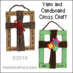 Cardboard and Yarn Cross Craft for Childrens Ministry from www.daniellesplace.com More