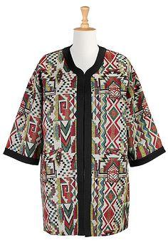I <3 this Geo jacquard oversized open jacket from eShakti