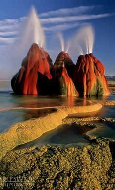 Fly Geyser in the Black Rock Desert of northwestern Nevada