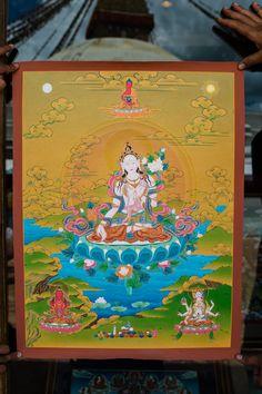 White Tara with Amitayus & Namgyalma (Thangka) - IOE ~ Dakini As Art Aztec Culture, Thangka Painting, Body Proportions, Buddhist Art, Tibet, Deities, 3 Months, Nepal, Karma