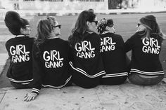Girl Gang 1950s photoshoot varsity jackets pin up girl style