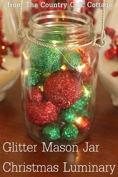 Glitter Mason Jar Christmas Luminary