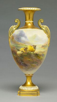 A Royal Worcester pot pourri vase and cover by John Stinton