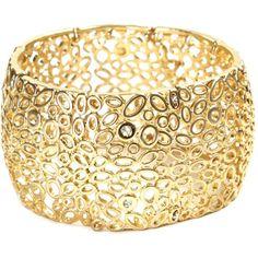 Jones New York Bracelet, Gold Plated Crystal Circle Cuff Bracelet