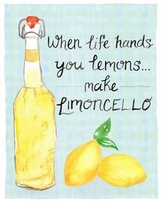Limoncello Italy Art Print - When Life Hands You Lemons ... make limoncello. - Kitchen Art - by Leveret Paperie                                                                                                                                                                                 More