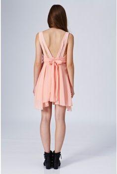 Pleat Bow Back Dress - Dresses