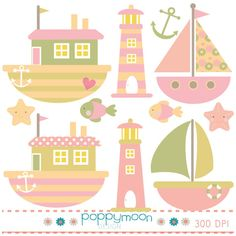 Nautical Girls boats and lighthouses pink green by poppymoondesign, £3.00