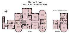 """12,470 square foot English estate. Floor plan for 1st and 2nd floors. """"Dalby Hall"""". 1050 acres."""