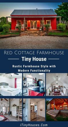 Fall in love with this stunning red cottage in farmhouse style with modern functionality complete with a full kitchen and 3 bedrooms for comfort! Red Cottage, Cottage House Plans, Cottage Homes, Backyard Cottage, Tiny House Cabin, Up House, Tiny House Design, Small House Floor Plans, Barn House Plans