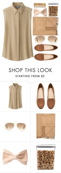 """Beige..."" by zerinakadic ❤ liked on Polyvore featuring Uniqlo, H&M, Ray-Ban, Armand Diradourian, Forever 21, OXO and The Body Shop"