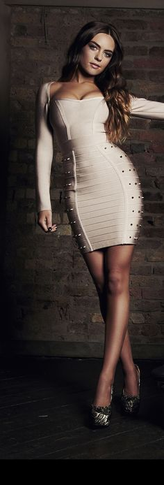 Clothing : Bandage Dresses : 'Elisa' Nude Longsleeve Studded Bandage Dress