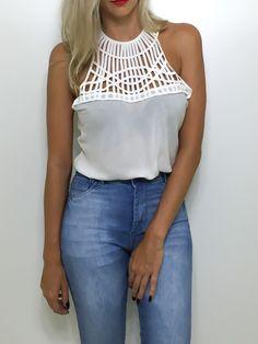 Blusa tiras - off white - Flávia Christina