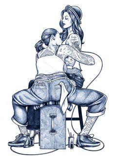 Tatuagens e belas garotas – as ilustrações de Adam Isaac Jackson