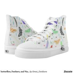 butterflies, Feathers, and Vines high-top Shoes