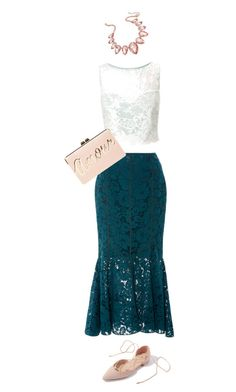 """""""Real lace with crop top and pop of rose gold"""" by sarah-evans-6 on Polyvore featuring Marissa Webb, Miss Selfridge, Thalia Sodi and BCBGMAXAZRIA"""