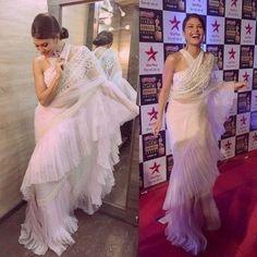 Jacqueline in white saree Drape Sarees, Saree Draping Styles, Saree Styles, Indian Fashion Dresses, Indian Designer Outfits, Designer Dresses, Fashion Wear, Fashion Clothes, Saree Gown