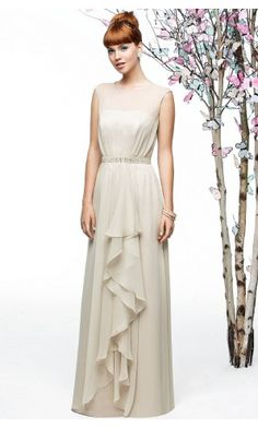 sku:b140628; Silhouette:A-line; Hemline:Asymmetrical; Fabric:Chiffon; Back Details:Yarn; Neckline:Jewel; Waist:Natural; Colour:Nude; Sleeve Length:Sleeveless;