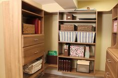 A Basement Makeover with Vera Sweeney: Part 3 Home Organization Hacks, Paper Organization, Simple Closet, Basement Makeover, Easy Closets, Bookcase, Paper Crafts, Shelves, Organize