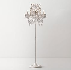 Manor Court Crystal 5-Arm Floor Lamp Vintage White
