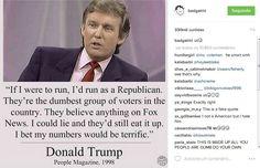 """Rihanna postou uma citação de Trump feita em 1998 à revista People: """"Se eu me candidatasse [a presidente], seria como Republicano. Eles são o grupo de eleitores mais burros no país. Eles acreditam em qualquer coisa que aparece na Fox News. Eu poderia mentir e, ainda assim, eles acreditariam em mim. Aposto que meus números seriam incríveis"""" (Foto: Instagram/Reprodução)"""