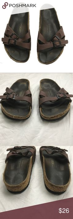 Birkenstock brown sandals size 37 These are in fair to good condition reflected in price. See all pictures. Pardon the stray fuzz that made it s way into the cover photo. Birkenstock Shoes Sandals