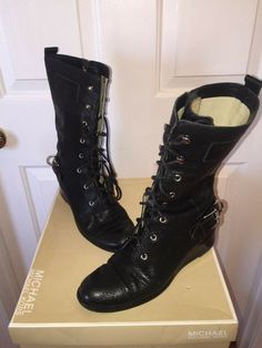 191ae8c90963 Michael Kors Shoes Woodley Lace Up Wedge Combat BOOTS Leather Size 7   MichaelKors  CombatBoots