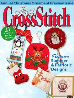 Just Cross Stitch Magazine - July/August 2013 Cross Stitch Tree, Cross Stitch Books, Just Cross Stitch, Beaded Cross Stitch, Cross Stitch Kits, Cross Stitch Designs, Cross Stitch Embroidery, Cross Stitch Christmas Ornaments, Christmas Embroidery