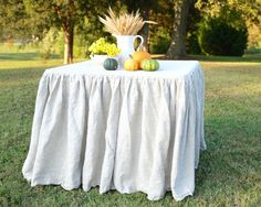 Ruffled Linen Tablecloth for your Card Table  -  Absolutely Beautiful and Ready to Ship!