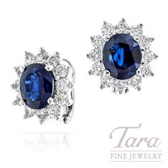 Blue Sapphire and Diamond Earrings in 14k White Gold, 8.17 CT TGW and 4.0 TDW, 13.1g | Tara Fine Jewelry Company, Atlanta.