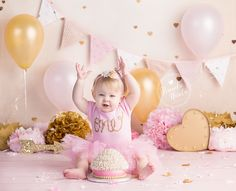 Cake Smash, Pink and Gold Cake Smash, Pink Cake Smash, Girl Cake Smash, Smash Cake Session, Burlington Ontario Photographer, Brandie Narola Photography, Pink and Gold First Birthday,