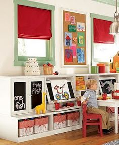 Put A Large Size Corkboard Between Windows In The Playroom To Display Kids Artwork.there are some awesome playroom decorating ideas on this site.Mateo and Tobias. Art Studio At Home, Kids Play Area, Kids Fun, Toy Rooms, Kids Decor, Home Decor, Kids Corner, Art Corner, Kid Spaces