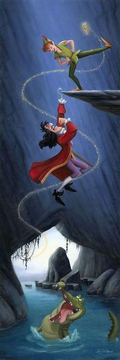 """Hanging by a Hook"" by Lisa DeMond | Disney Fine Art | Disney's Peter Pan"