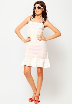 Sleeve Less Solid White Dress at $30.40 (24% OFF)