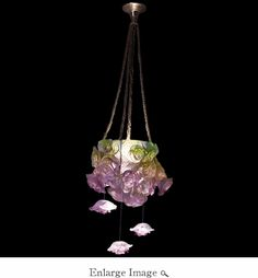 Daum Crystal Rose Passion Green & Pink Hanging Lamp - Limited Edition of 255