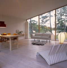 Serenity Now: A Swedish Summer House Sustainable Architecture, Architecture Design, White Washed Floors, Swedish Cottage, Serenity Now, Scandinavian Living, White Rooms, Home And Living, Interior Inspiration